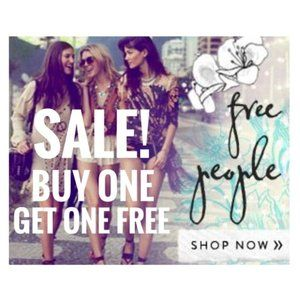 Buy 1 Get 1 FREE on all Free People items!! 😍